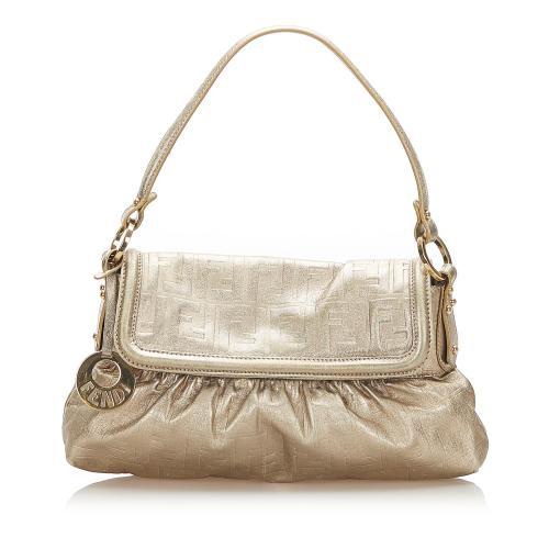 Fendi Zucca Chef Leather Shoulder Bag