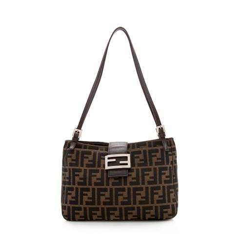 Fendi Zucca Double Zip Pocket Shoulder Bag