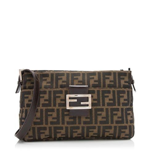 Fendi Zucca Top Zip Baguette Shoulder Bag