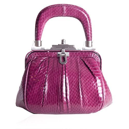 Francesco Biasia Makayla Reptile Leather Frame Satchel Handbag