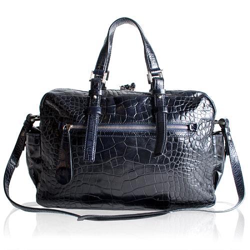 Francesco Biasia Renee Croc Embossed Satchel Handbag
