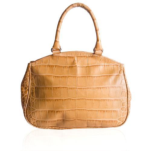 Furla Croc Embossed Satchel Handbag