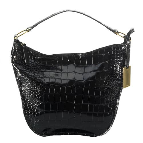 Furla Croc Embossed Shoulder Handbag