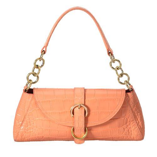 Furla Croc Flap Shoulder Handbag
