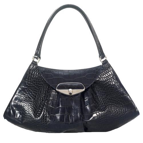 Furla Large Brera Croc Embossed Shoulder Handbag