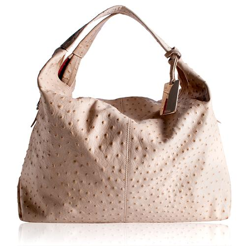 Furla Ostrich Leather Elisabeth Hobo Handbag