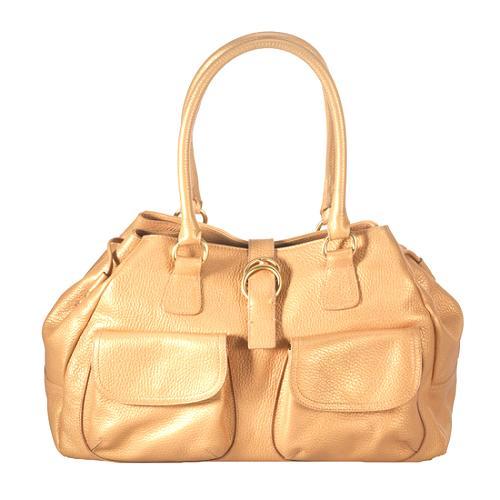 Furla Pebbled Leather Front Pocket Satchel Handbag