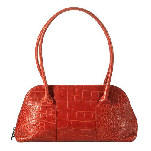 Furla Stamped Croc Leather Satchel Handbag