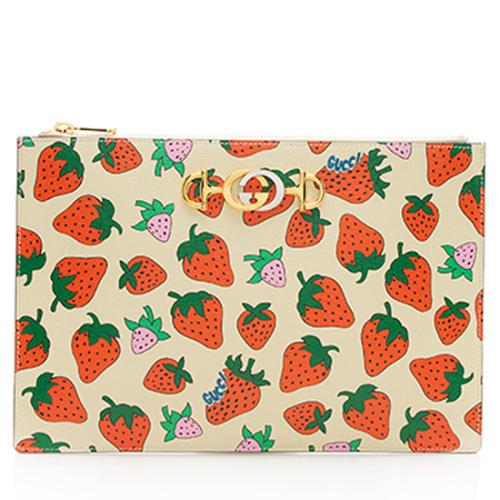 Gucci Printed Leather Strawberry Zumi Pouch
