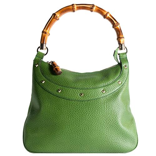 Gucci Anita Pebbled Leather Bamboo Handle Shoulder Handbag