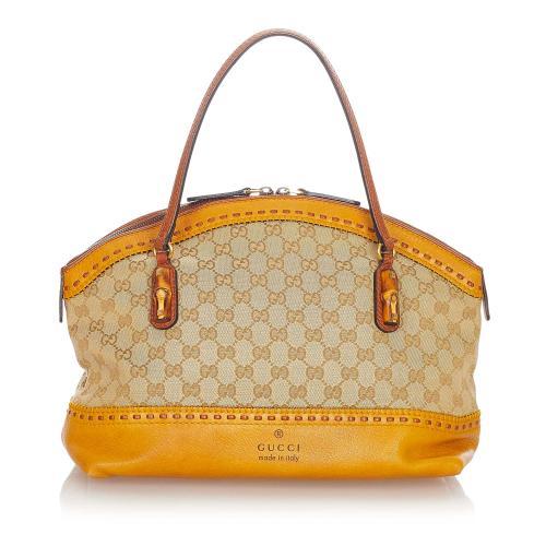 Gucci Bamboo GG Canvas Crafty Handbag