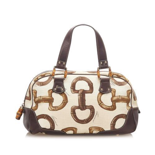 Gucci Bamboo Horsebit Canvas Handbag