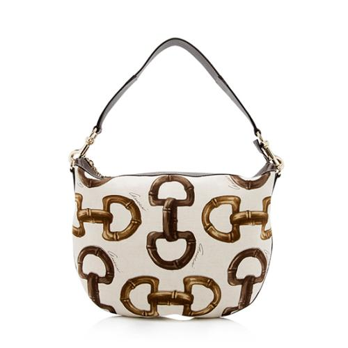 Gucci Bamboo Horsebit Printed Canvas Hobo