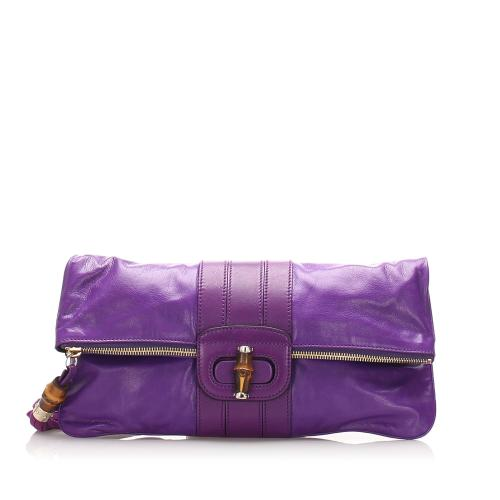Gucci Leather Bamboo Clutch
