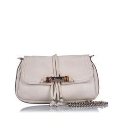 Gucci Bamboo Leather Croisette Shoulder Bag