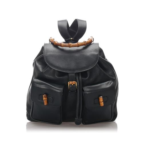 Gucci Leather Bamboo Drawstring Backpack