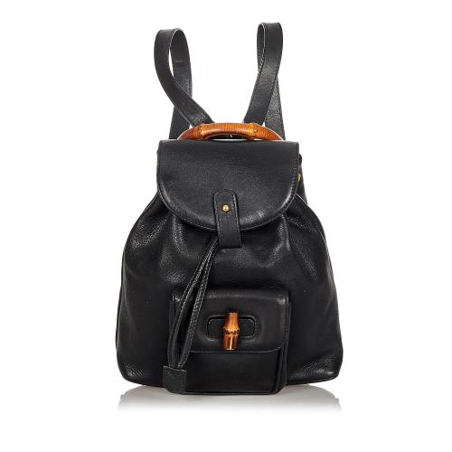 Gucci Bamboo Leather Drawstring Backpack