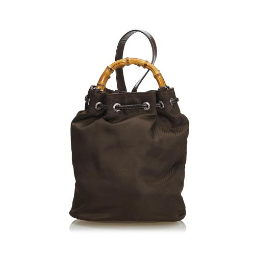 Gucci Bamboo Nylon Drawstring Backpack
