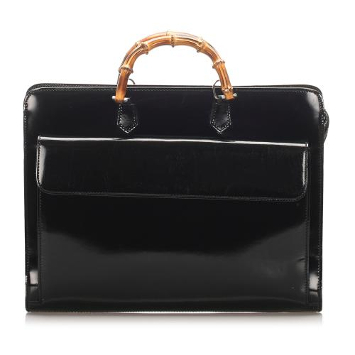 Gucci Patent Leather Bamboo Briefcase