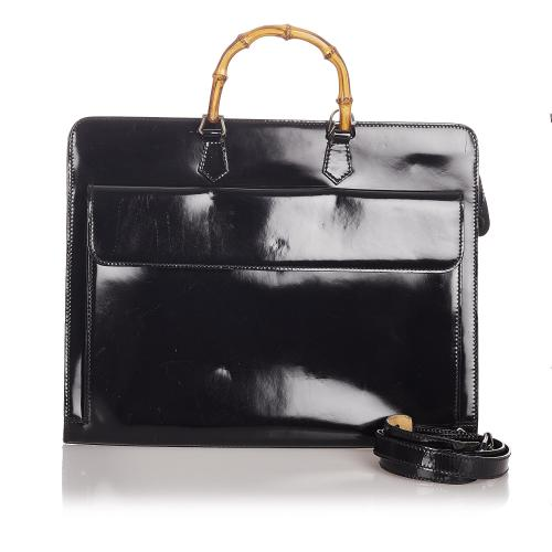 Gucci Bamboo Patent Leather Business Bag