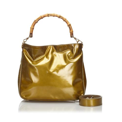 Gucci Bamboo Patent Leather Shoulder Bag