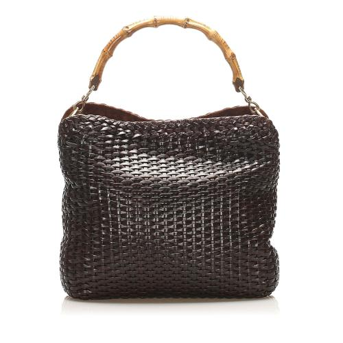 Gucci Bamboo Woven Leather Satchel