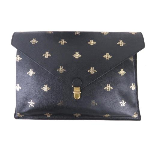 Gucci Leather Bee Star Clutch