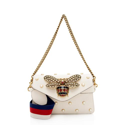 Gucci Calfskin Pearl Bee Broadway Mini Shoulder Bag