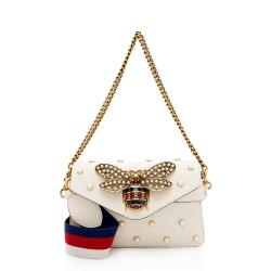 Gucci Calfskin Pearl Bee Broadway Mini Shoulder Bag