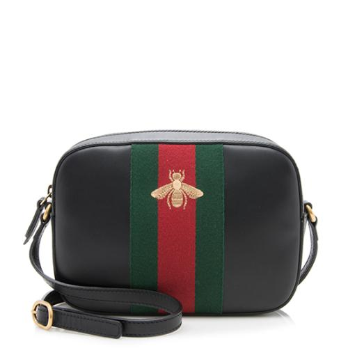 Gucci Calfskin Small Webby Bee Shoulder Bag