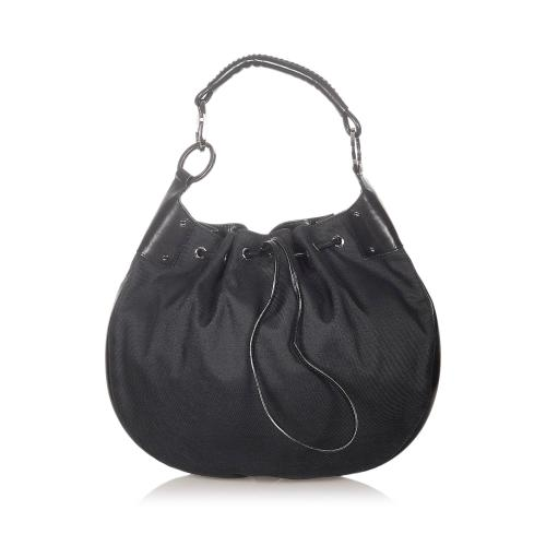 Gucci Canvas Drawstring Hobo Bag