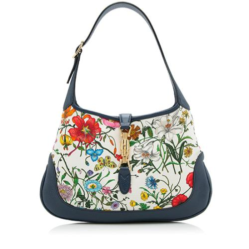 Gucci Canvas Flora Jackie Shoulder Bag