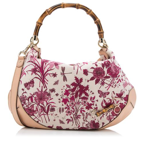 Gucci Canvas Flora Peggy Top Handle Shoulder Bag