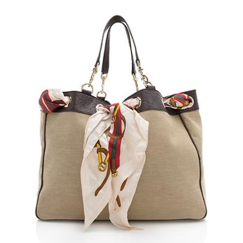 Gucci Canvas Guccissima Leather Trim Positano Tote
