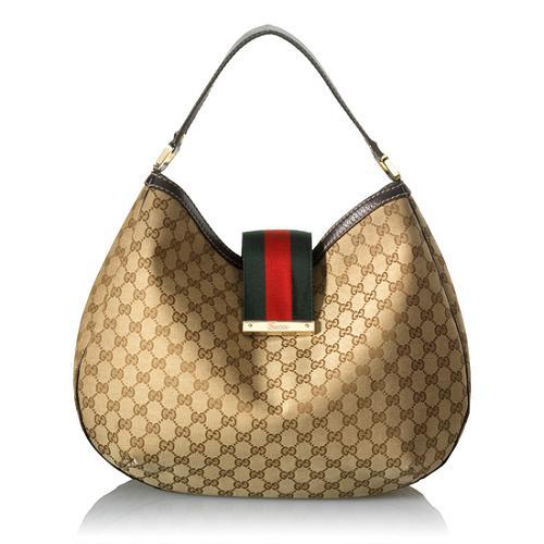 Gucci Canvas Ladies Web Large Hobo Handbag