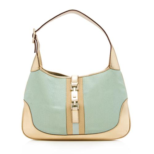 Gucci Canvas Leather Jackie Shoulder Bag
