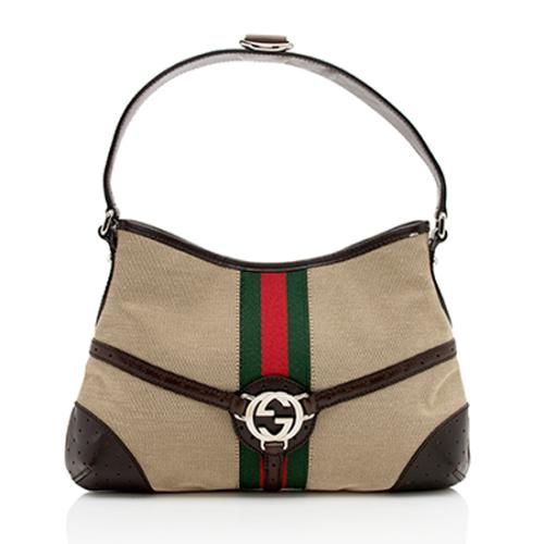 Gucci Canvas Reins Medium Hobo