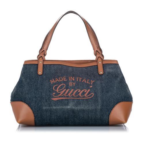 Gucci Craft Denim Tote Bag