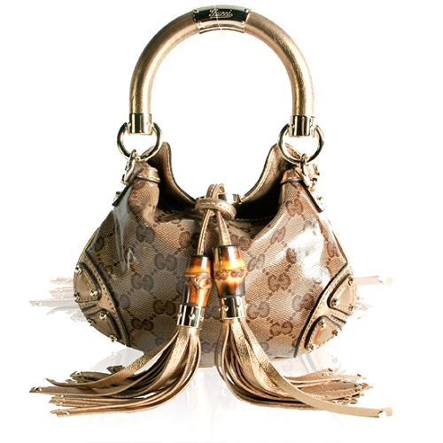 Gucci Crystal GG Fabric Indy Mini Top Handle Satchel Handbag