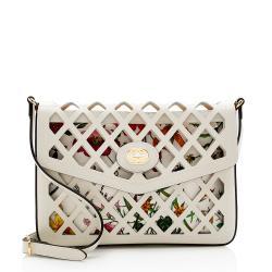 Gucci Cutout Leather Floral Shoulder Bag