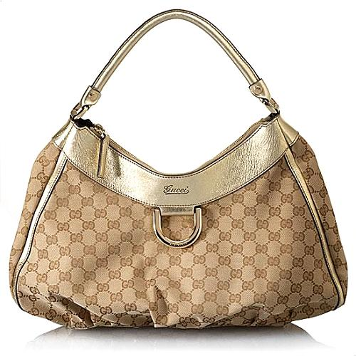 Gucci D Gold Large Hobo Handbag