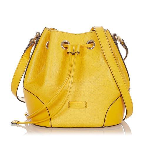 Gucci Diamante Bright Leather Bucket Bag
