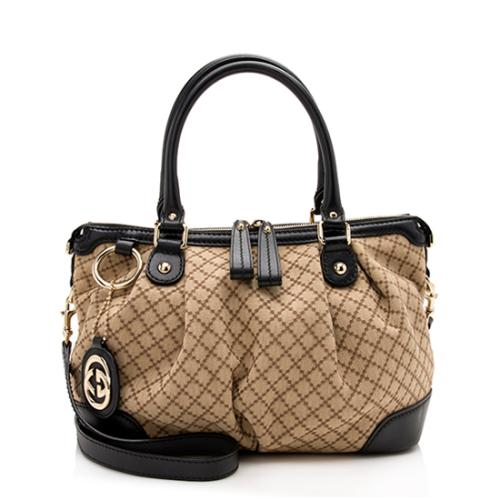 Gucci Diamante Canvas Sukey Top Handle Bag