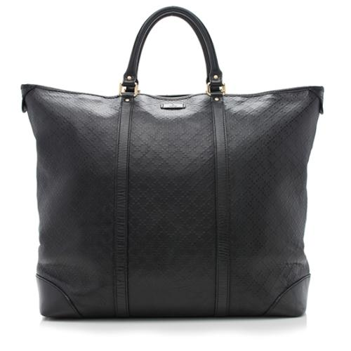 Gucci Diamante Leather Top Handle Travel Tote