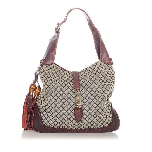 Gucci Diamante New Jackie Tassel Canvas Hobo Bag