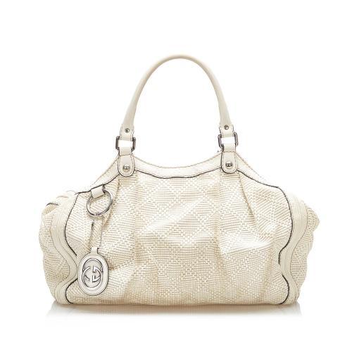 Gucci Diamante Sukey Hemp Tote Bag