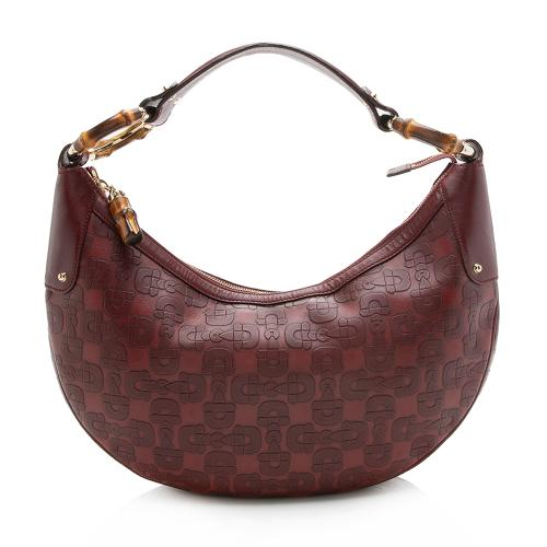 Gucci Embossed Horsebit Leather Bamboo Ring Hobo