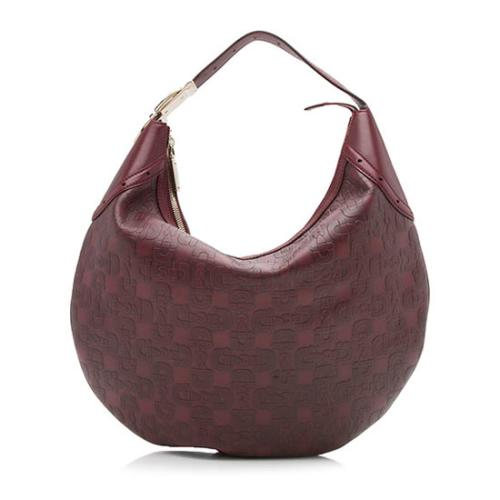 Gucci Embossed Leather Horsebit Glam Hobo