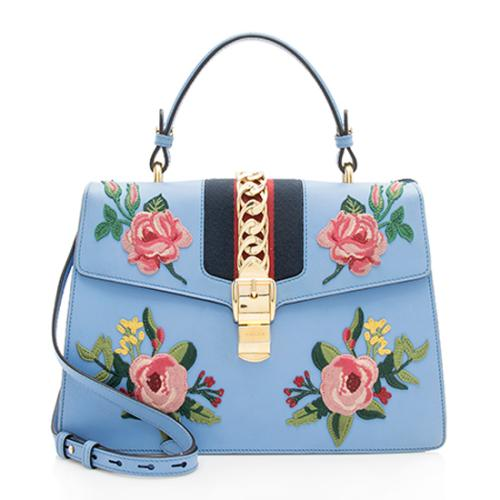 Gucci Embroidered Leather Floral Sylvie Top Handle Bag