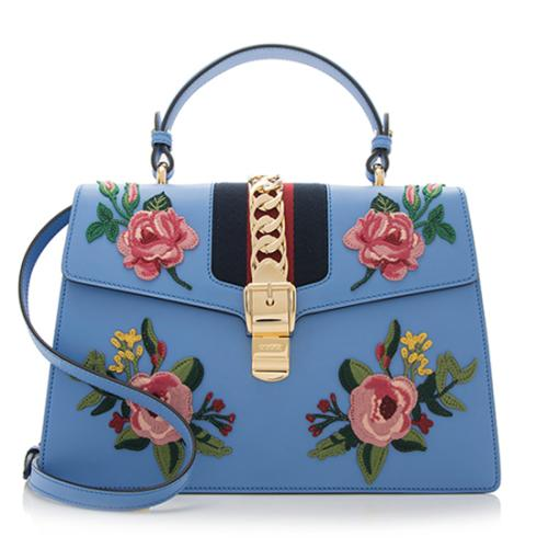 179ff0e382c Gucci Embroidered Leather Fl Sylvie Top Handle Bag 90898 Front Large 1 Jpg